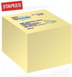 Staples Bloczek kostka samoprzylepna 75 x 75mm 400 kartek, żółty (C71720)