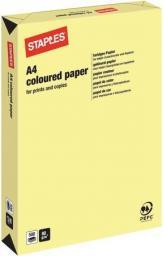 Papier Staples Papier kolorowy PASTEL COLOURS A4 120G, kanarkowy żółty/canary, ryza 250 arkuszy (7203940)