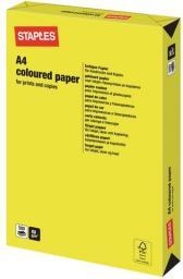 Papier Staples Papier kolorowy NEON COLOURS A4 80G, żółty/yellow, ryza 500 arkuszy (7481207)