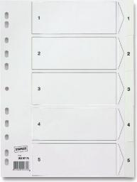 Staples Przekładki PP A4 białe 1-5 (C30280)