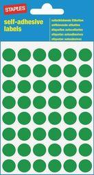 Staples STAPLES Etykieta samoprzylepne kółko śr.12mm zielony 5/p