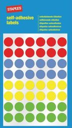 Staples STAPLES Etykiety samoprzylepne, kółka 12mm, 4 kolory , opakowanie 5 arkuszy