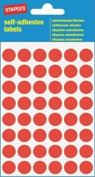 Staples STAPLES Etykiety samoprzylepne, kółka 12mm, czerwone, opakowanie 5 arkuszy