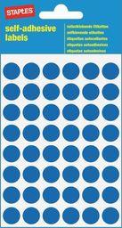 Staples STAPLES Etykiety samoprzylepne, kółka 12mm, niebieski, opakowanie 5 arkuszy