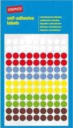 Staples STAPLES Etykiety samoprzylepne, kółka 8mm, 6 kolorów , opakowanie 6 arkuszy