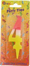 Arpex Świeczka Party Time nr 4 żółto-biało-czerwona (ARPE0564)