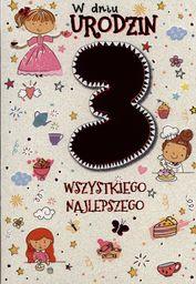 PASSION CARDS Karnet 3 urodziny dziewczynki