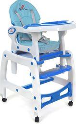FUN BABY Krzesełko do karmienia dzieci 5 w 1 stolik, krzesełko, bujak + kółka - biało-niebieskie