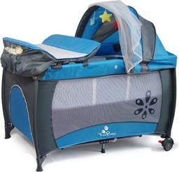 FUN BABY Kojec, łóżeczko z daszkiem i przewijakiem MIKI - niebieskie. Moskitiera GRATIS!