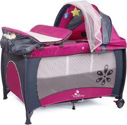 FUN BABY Kojec, łóżeczko z daszkiem i przewijakiem MIKI - różowe. Moskitiera GRATIS!