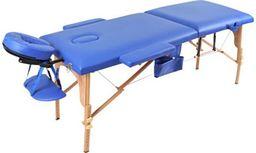 PROFIBED Łóżko do masażu 2 segmentowe drewniane o szerokości 70 cm, niebieskie