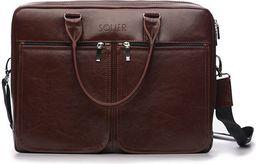 Torba Solier Męska torba ze skóry na ramię, laptopa ROYAL brązowy