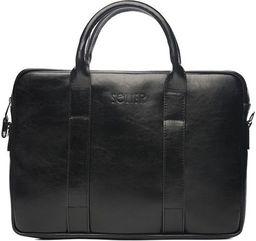 Torba Solier Skórzana czarna męska torba na laptopa Solier William