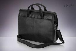 Torba Solier Czarna męska torba na ramię, laptopa SOLIER LUCAS