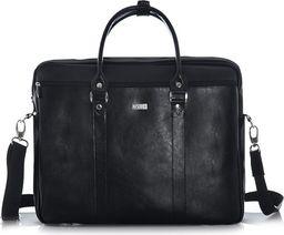 Torba Solier Skórzana torba na ramię laptopa Solier MARCEL czarna