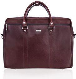 Torba Solier Skórzana torba na ramię laptopa Solier MARCEL Brąz