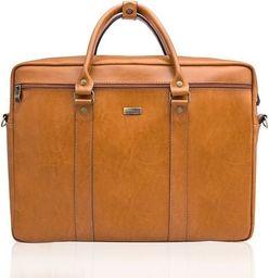 Torba Solier Skórzana torba na ramię laptopa Solier MARCEL Camel