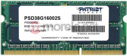Pamięć do laptopa Patriot DDR3 SODIMM 8GB 1600MHz CL11 (PSD38G16002S)
