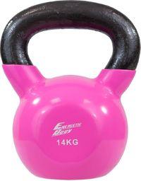 Victoria Sport hantla żeliwna Kettlebell czarno-różowa 14 kg
