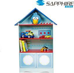 Regał z półkami do pokoju dziecka - domek - niebieski