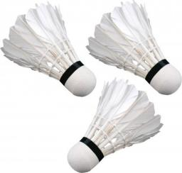 Victoria Sport Lotki do badmintona z piór 3szt. białe