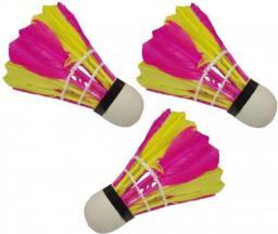 Victoria Sport Lotki do badmintona z piór 3szt. różowo-żółte