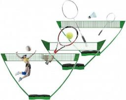 ENERO  Zestaw plażowo-ogrodowy siatkówka tenis badminton 3W1 zielony