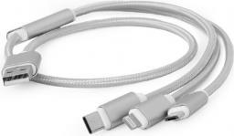 Kabel USB Gembird Gembird kabel USB 3w1 do ładowania micro/USB-C/lighting Apple, srebrny, 1m