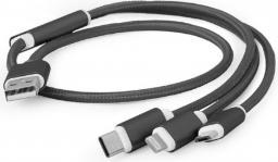 Kabel USB Gembird Gembird kabel USB 3w1 do ładowania micro/USB-C/lighting Apple, czarny, 1m