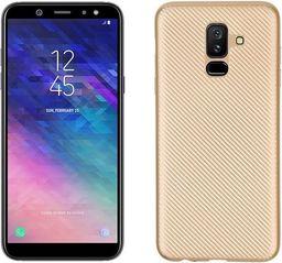 Etui Carbon Fiber Samsung A6 Plus 2018 złoty/gold