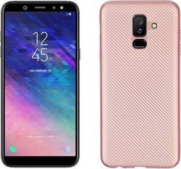Etui Carbon Fiber Samsung A6 Plus 2018 różowo-złoty/rosegold