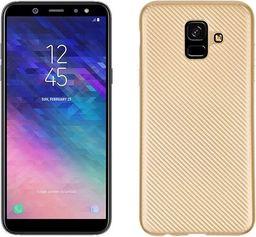 Etui Carbon Fiber Samsung A6 2018 złoty/gold