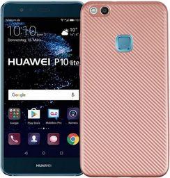 Etui Carbon Fiber Huawei P10 lite różowo -złoty/rose gold