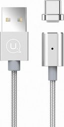 Kabel USB Usams USAMS Kabel magnetyczny U-Link USB-C 1,2m 2A srebrny/silver pleciony TCLD02 (US-SJ143) Fast Charge