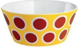 Alessi Miska Circus z porcelany żółta czerwone kropki średnica 16cm (8003299404995)