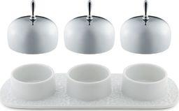 Alessi  ALESSI | DRESSED Taca z trzema pojemnikami z białej porcelany z przykrywkami z polerowanej stali nierdzewnej | długość 21 cm