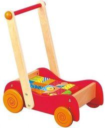 Lelin Drewniany wózek i pchacz z klockami