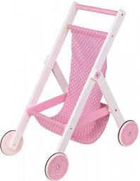 Lelin Różowy wózek spacerowy dla lalek drewniany (L31007)