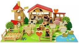 BigJigs Drewniany zestaw do układania i zabawy Farma