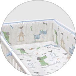Ceba Pościel niemowlęca drukowana 3 - elementowa Pieski niebiesko - zielone Lux