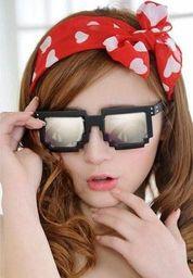 GiftWorld Pikselowe okulary 8 bit pixel - czarne/lustrzane