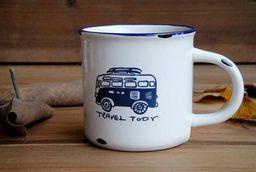 GiftWorld Porcelanowy mini kubek retro Travel