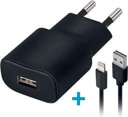 Ładowarka Forever Ładowarka sieciowa Forever USB 1A TC-01 + kabel do iPhone 8-pin czarna