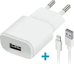 Ładowarka Forever Ładowarka sieciowa Forever USB 2A TC-01 + kabel do iPhone 8-pin biała