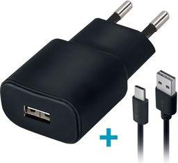 Ładowarka Forever Ładowarka sieciowa Forever USB 1A TC-01 + kabel type-C czarna
