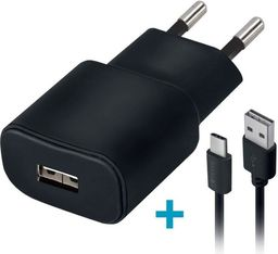 Ładowarka Forever Ładowarka sieciowa Forever USB 2A TC-01 + kabel type-C czarna