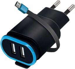 Ładowarka Forever Ładowarka sieciowa Forever TC-02 2xUSB 2.4A z kablem micro-USB czarna