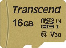 Karta MicroSD Transcend microSDHC 500S 16GB CL10 UHS-I U3 + adapter (TS16GUSD500S)