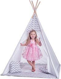 Woodyland Duży namiot tipi biało-szary z poduszkami