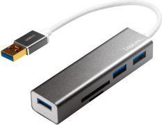 HUB USB LogiLink USB 3.0, 3-portowy, z czytnikiem kart